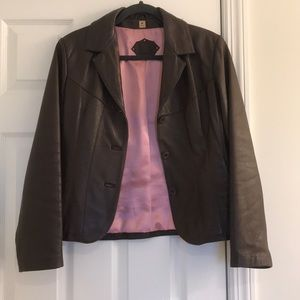 Wilsons Leather jacket brown with pink lining